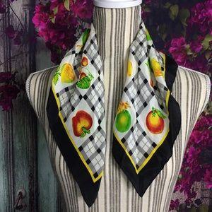Vintage 100% pure silk scarf Foulard neckerchief